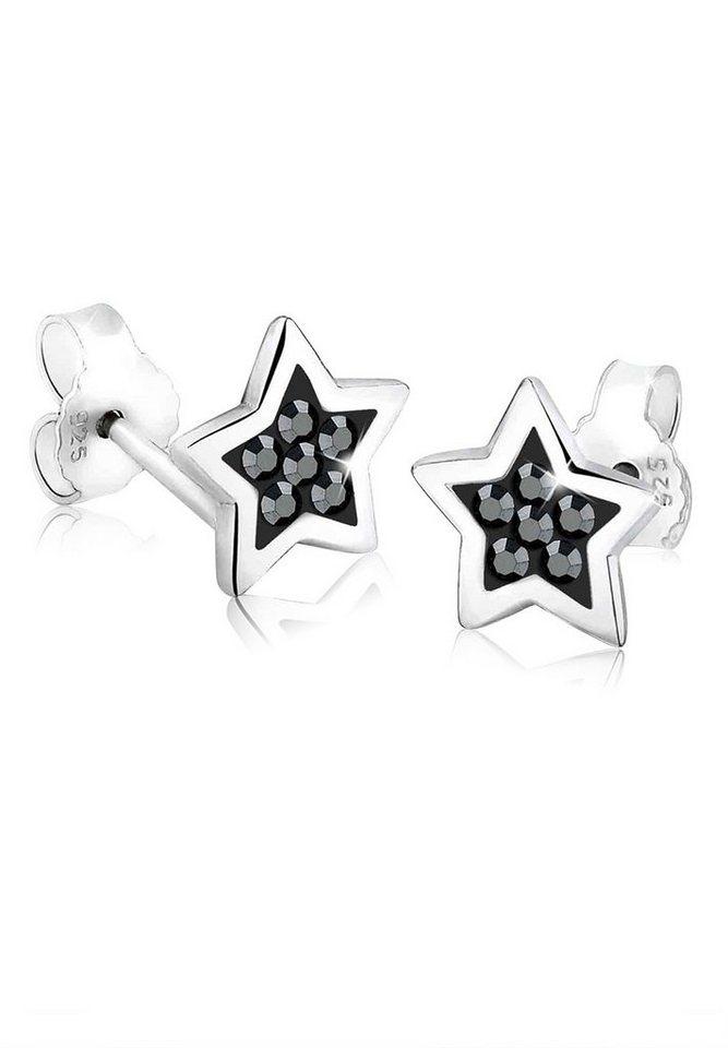 Elli Ohrringe »Stern Astro Trend Swarovski® Kristalle 925 Silber« in Schwarz