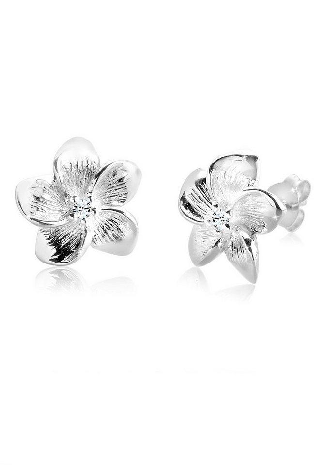 Elli Ohrringe »Frangipani Blüte Swarovski® Kristalle Blume Silber« in Weiß