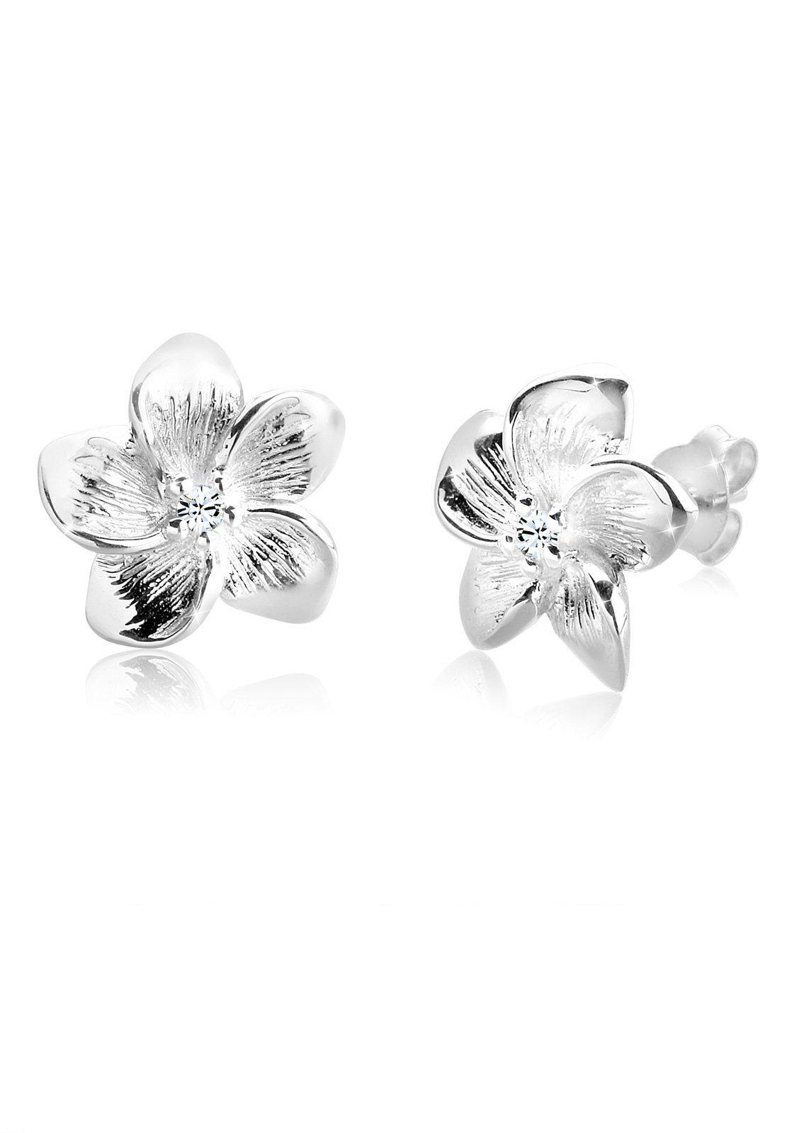 Elli Ohrringe »Frangipani Blüte Swarovski® Kristalle Blume Silber«