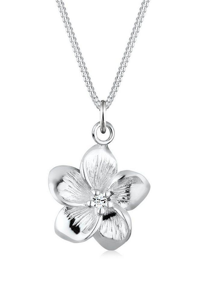 Elli Halskette »Frangipani Blüte Swarovski® Kristalle 925 Silber« in Weiß
