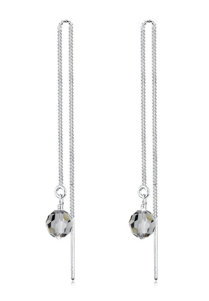 Elli Ohrringe »Ohrhänger Swarovski Kristalle Silber« in Grau