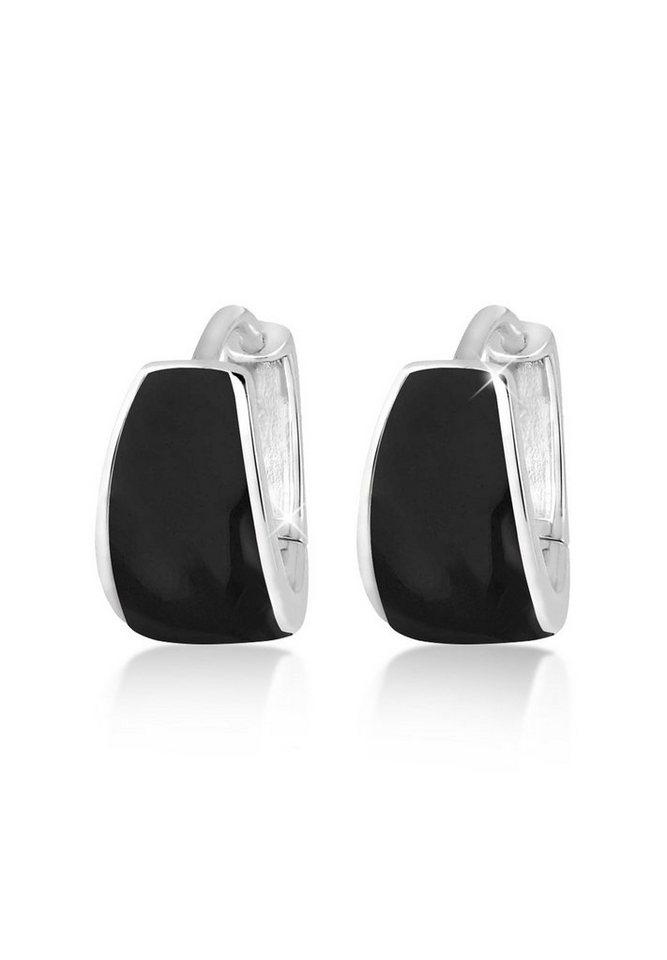 Elli Ohrringe »Basic Creolen Emaillelack Silber« in Schwarz