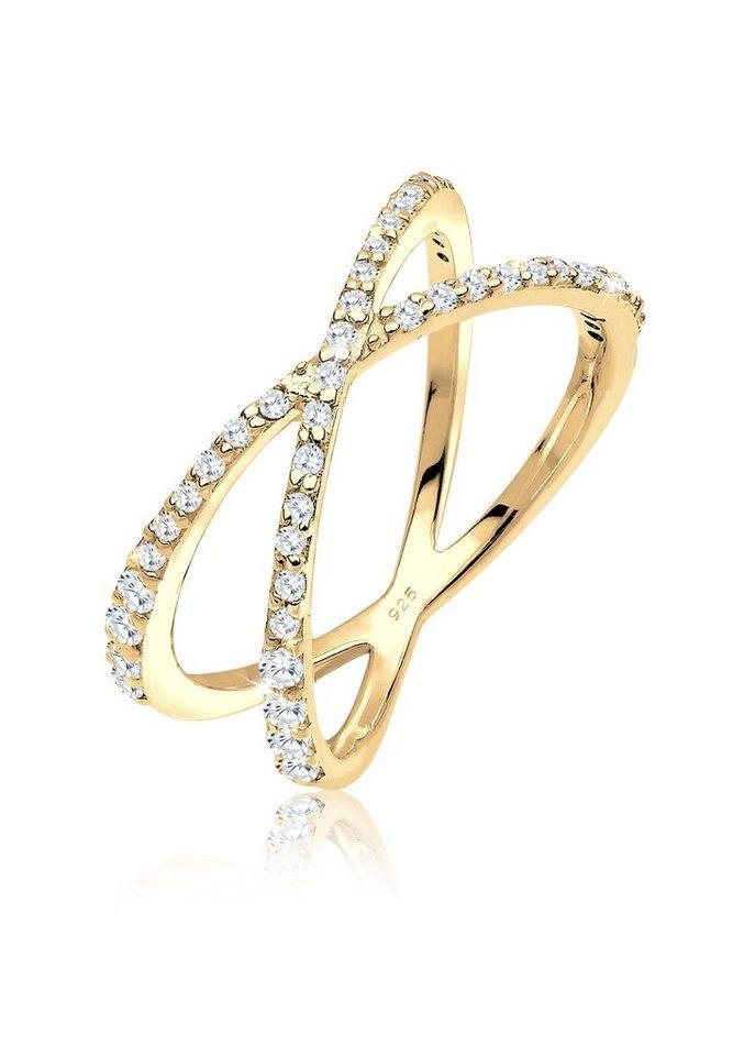 Elli Ring »Wickelring X Zirkonia 925 Silber vergoldet« in Gold