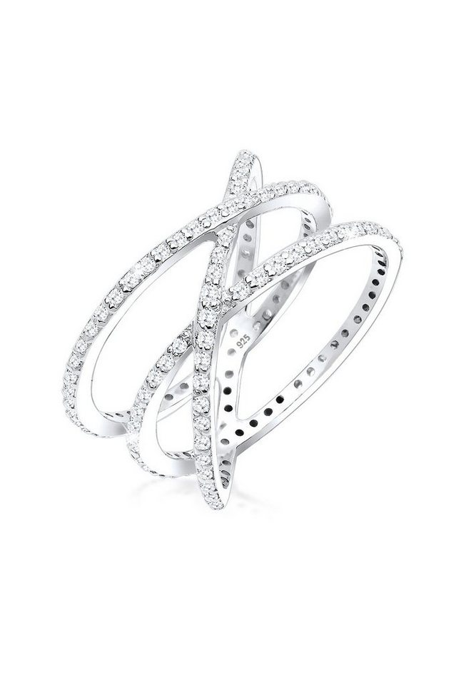 Elli Ring »Wickelring Blogger Zirkonia 925 Silber« in Weiß