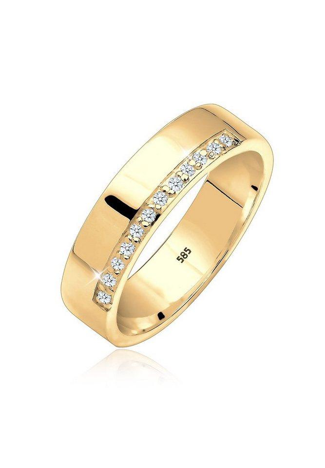 Elli Ring »Verlobung Bandring Diamant 0.12 ct. 585 Gelbgold« in Gold