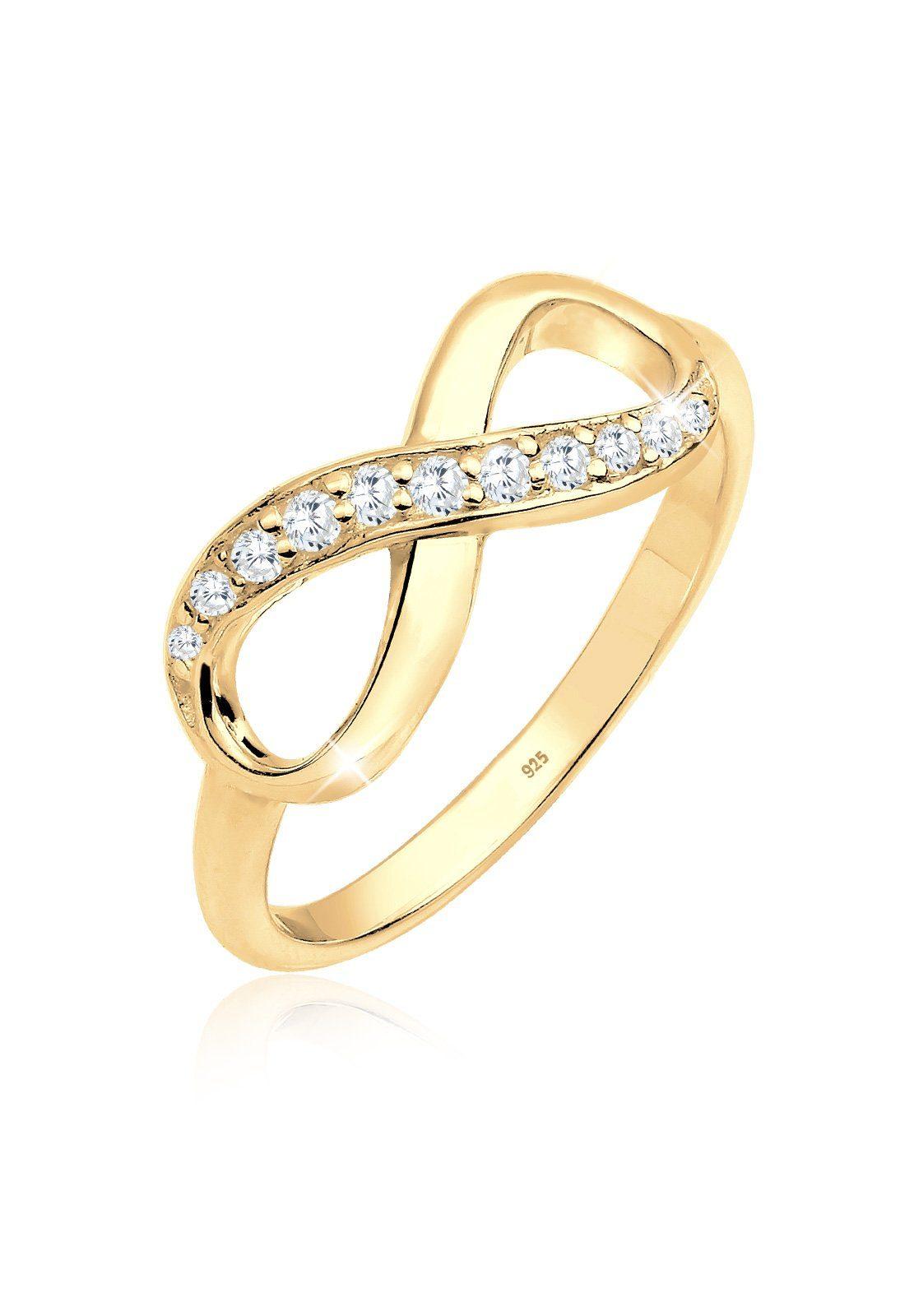 Elli Ring »Infinity Symbol Zirkonia Liebe Silber vergoldet«