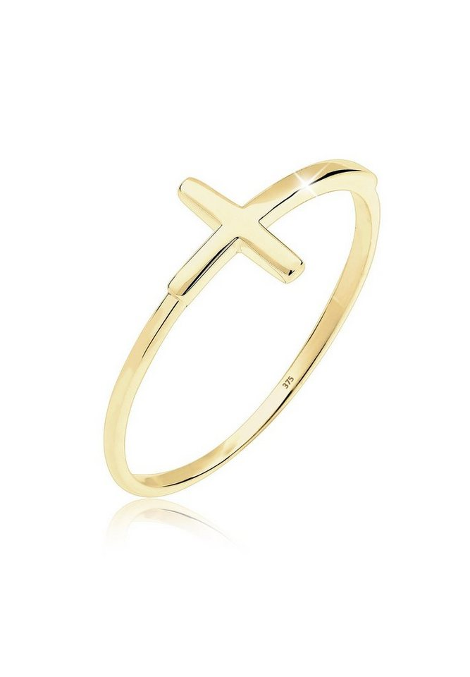 Elli Ring »Kreuz Trend 375 Gelbgold« in Gold