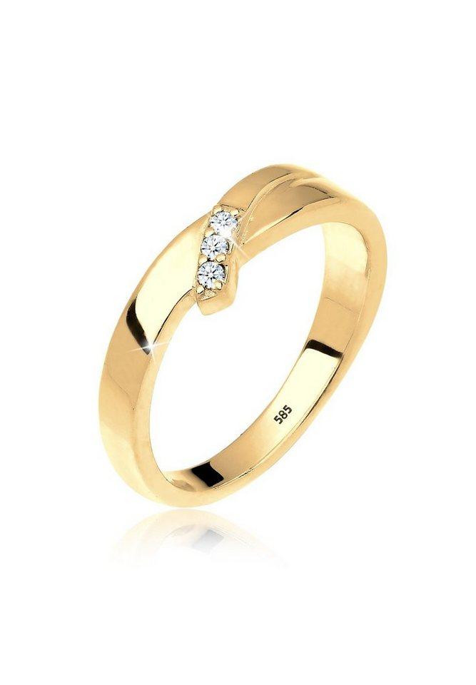 DIAMORE Ring »Trio Verlobung Diamant 0.06 ct. 585 Gelbgold« in Gold