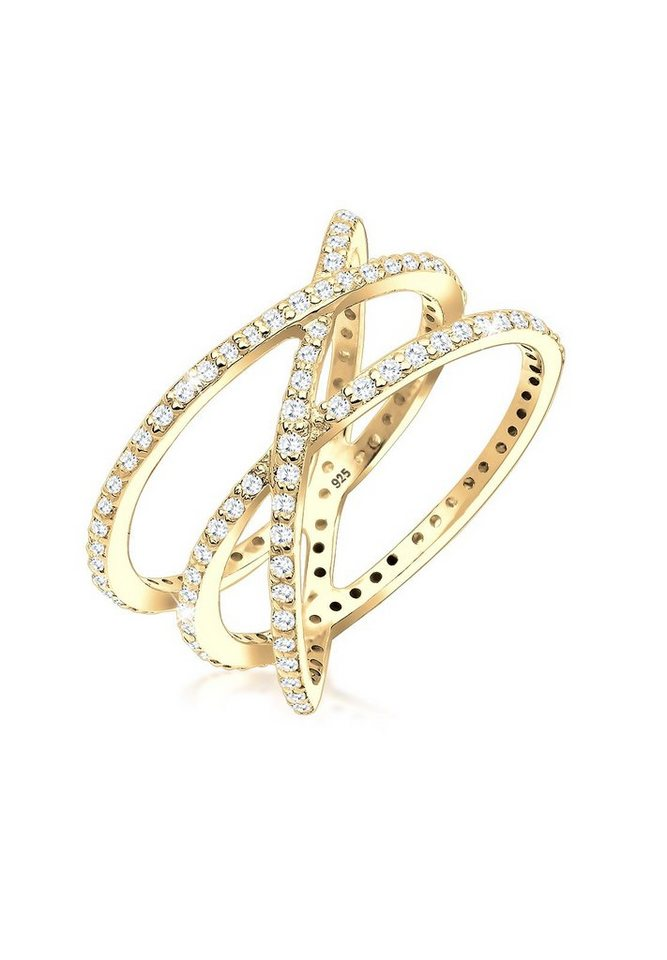 Elli Ring »Statement Wickelring Zirkonia vergoldet« in Gold