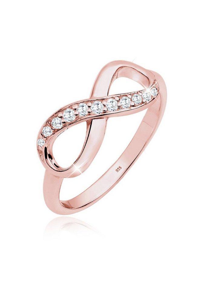 Elli Ring »Infinity Zirkonia Silber rosé vergoldet« in Rosegold