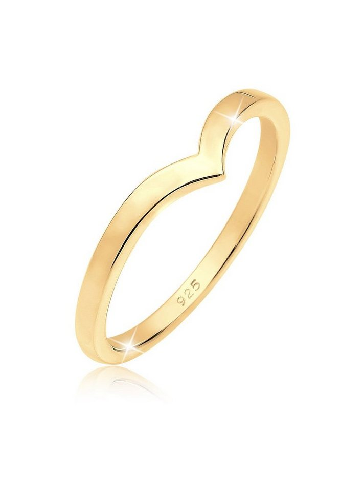 Elli Ring »V-Form Stapelring 925 Silber vergoldet« in Gold