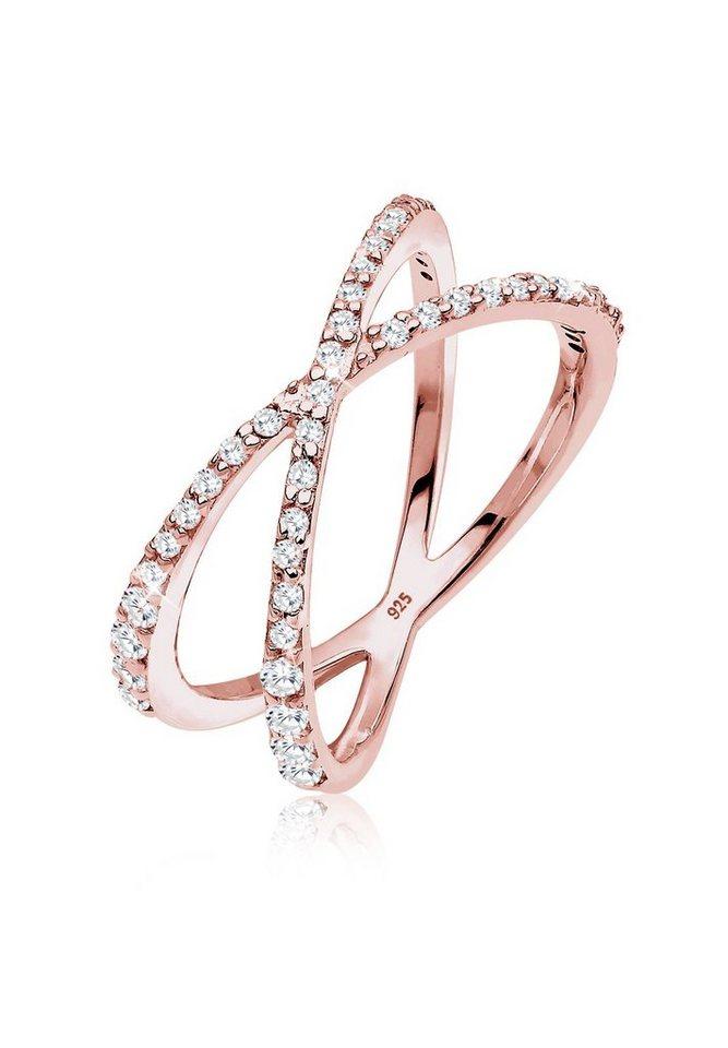 Elli Ring »Zirkonia Wickelring 925 Silber rosé vergoldet« in Rosegold