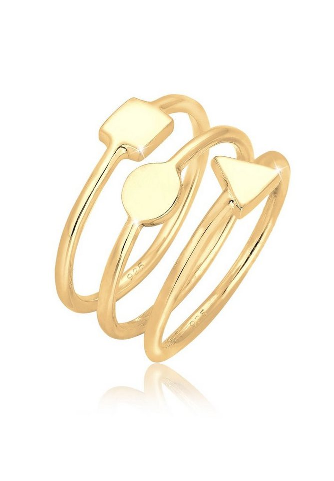 Elli Ring »3er Set Geo Stapelringe 925 Silber vergoldet« in Gold