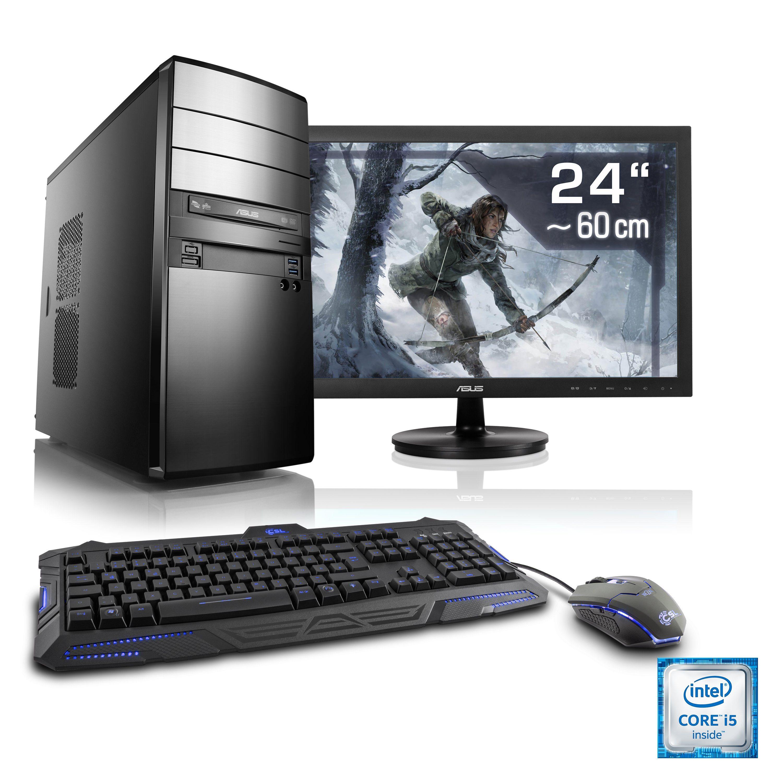 "CSL Gaming PC Set | i7-6700 | GeForce GTX 1060 | 16 GB RAM | 24"" TFT »Speed T7677 Windows 10 Home«"