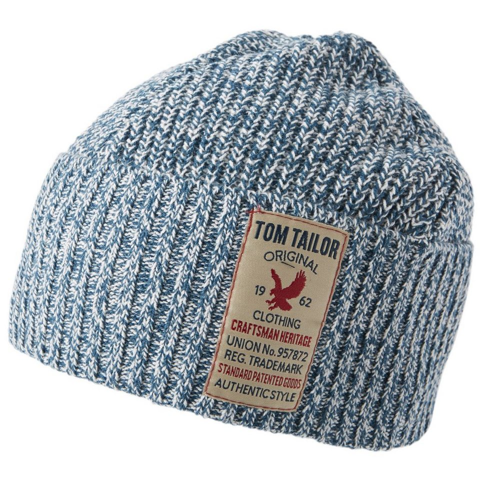 TOM TAILOR Mütze »Mouliné-Mütze mit Badge« in perfect even blue