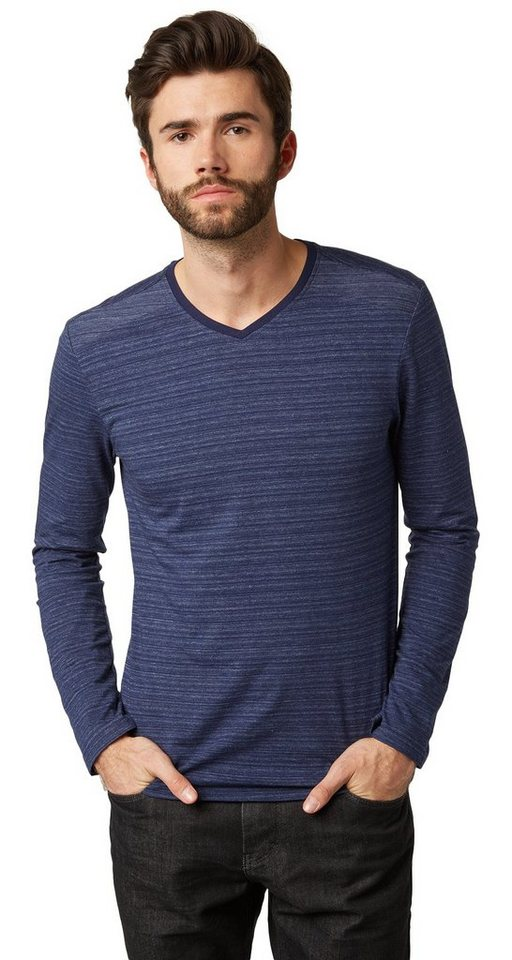 TOM TAILOR T-Shirt »Langarm-Shirt in Melange-Optik« in true dark blue