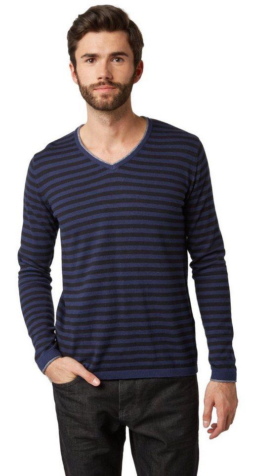 TOM TAILOR Pullover »gestreifter V-Ausschnitt Pullover« in rhapsody blue melang