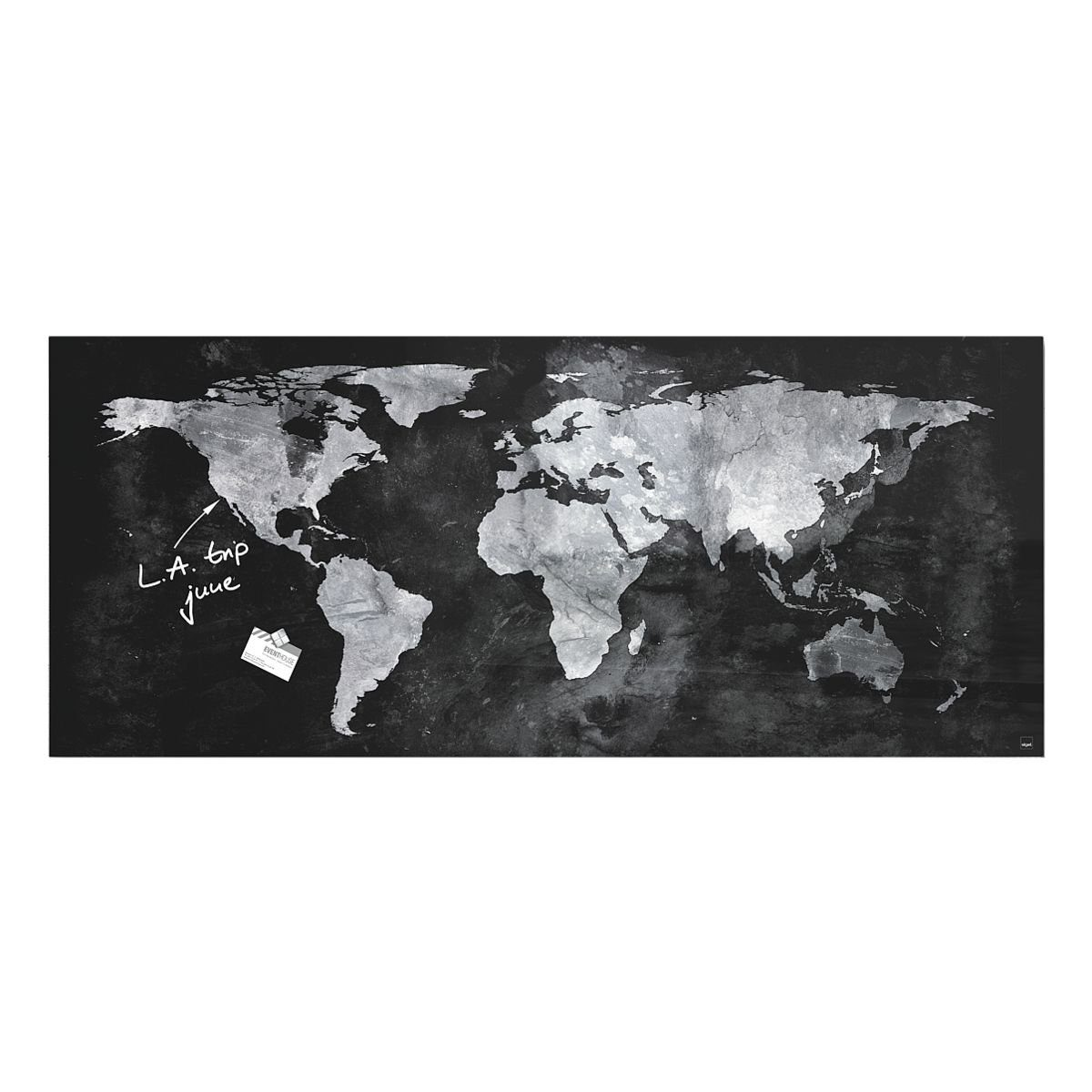 Sigel-Premium Glas-Magnettafel »artverum® World Map«