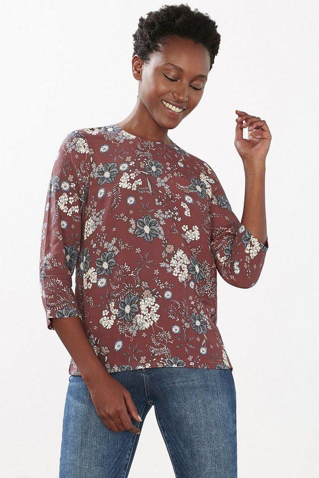 EDC Fließende Flower-Print-Bluse in BORDEAUX RED