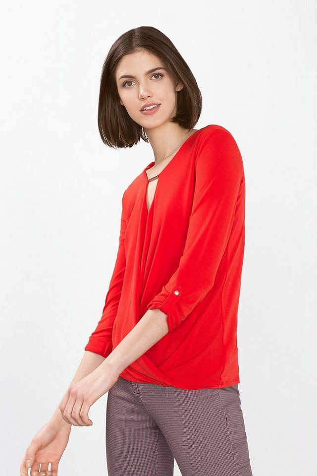 ESPRIT COLLECTION Stretch Wrap-Shirt aus Crepe-Jersey in RED
