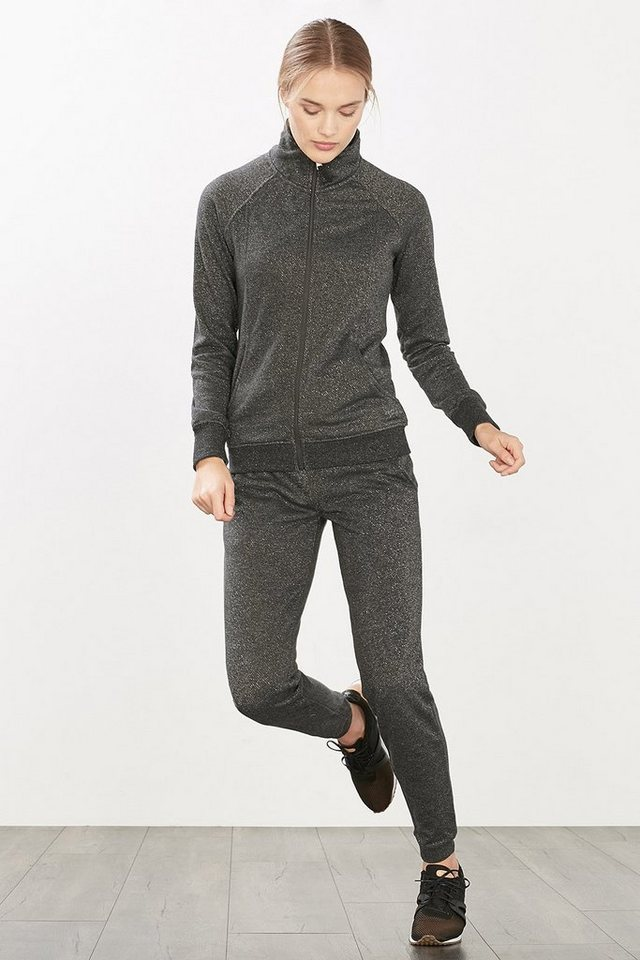 ESPRIT Sport Melange-Sweat-Cardigan mit Glanz in BLACK