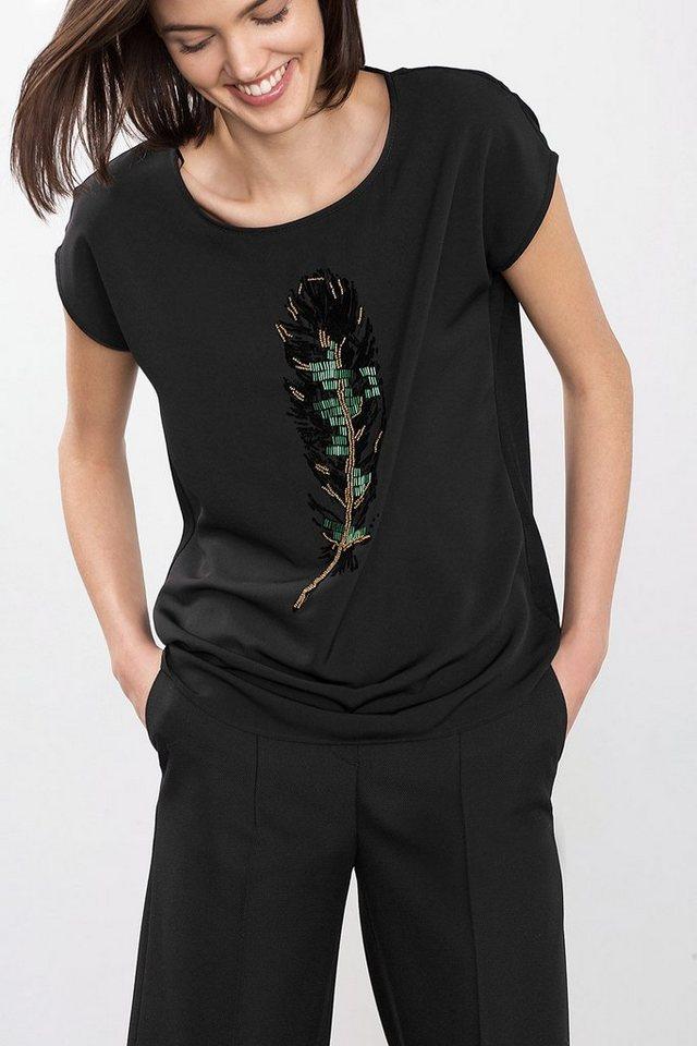 ESPRIT COLLECTION Shirt im Materialmix mit Perlenapplikation in BLACK