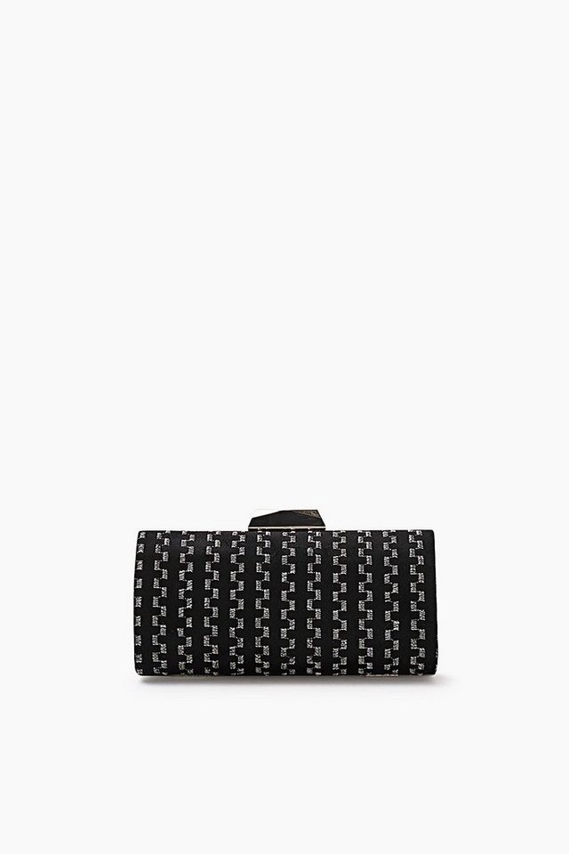 ESPRIT CASUAL Bestickte Box-Clutch aus Seiden-Mix in BLACK