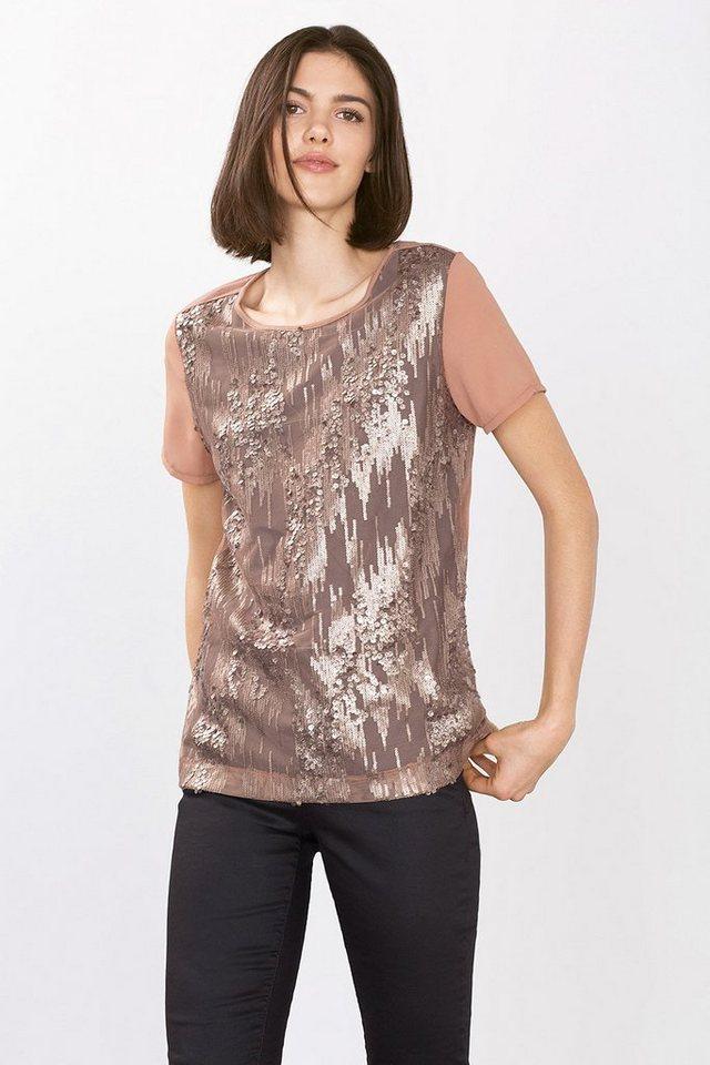 ESPRIT COLLECTION Jersey Shirt mit Paillettendekor in NUDE
