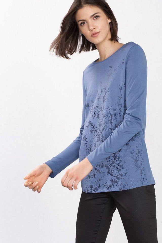 ESPRIT COLLECTION Fließendes Jersey-Shirt mit Glanz-Print in BLUE LAVENDER