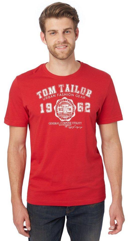 TOM TAILOR T-Shirt »Basic T-Shirt mit Logo-Print« in dull red