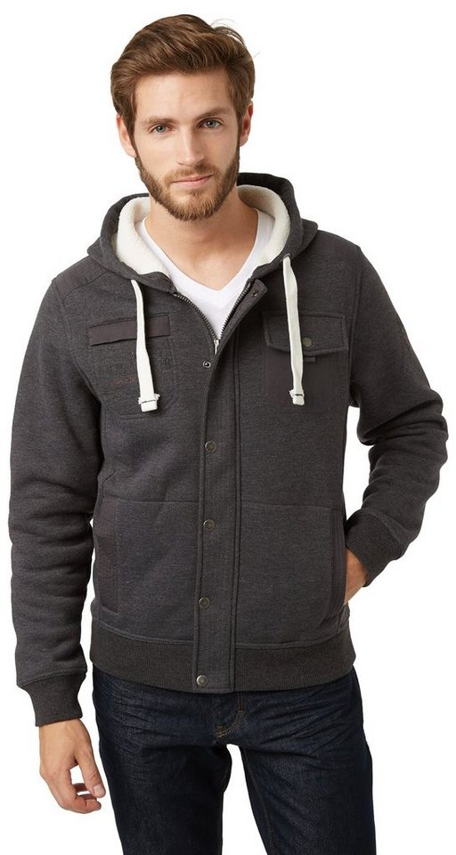 TOM TAILOR Sweatjacke »bonded teddy sweatjacket« in black grey melange