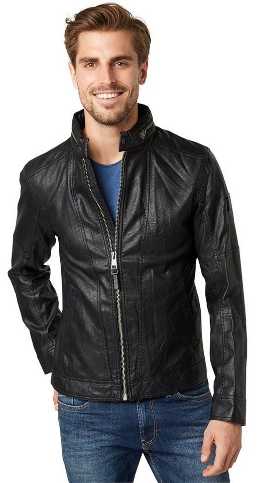 TOM TAILOR Lederjacke »Jacke aus Lederimitat« in black