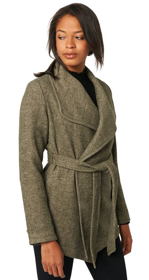 TOM TAILOR Jacke »eleganter Wollmix-Mantel« in shadow olive