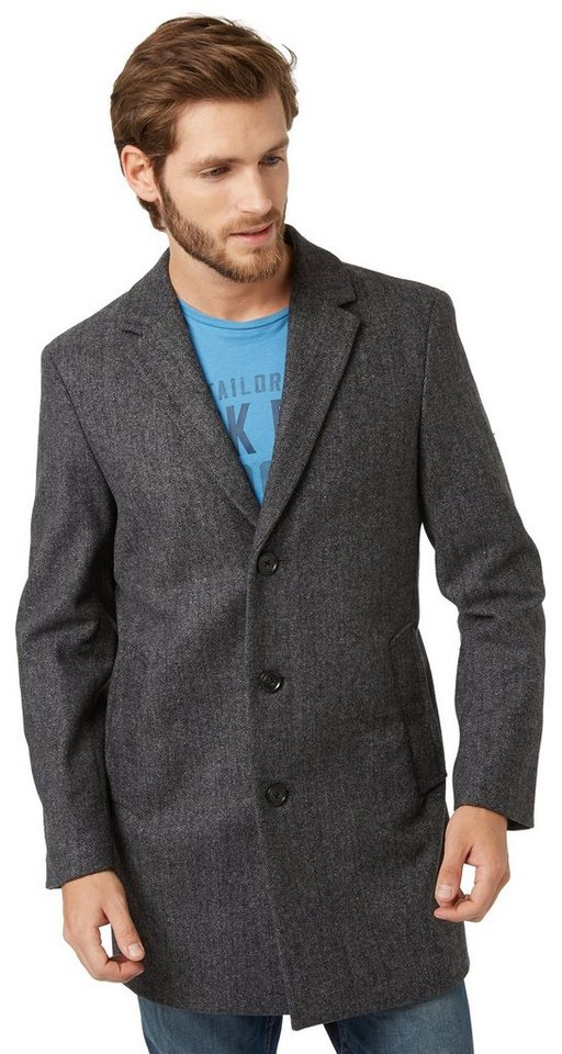 TOM TAILOR Jacke »eleganter Mantel in Woll-Optik« in pirate black