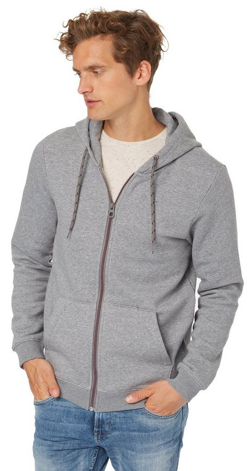 TOM TAILOR DENIM Sweatjacke »Sweat-Jacke mit Melange-Effekt« in heather grey melange