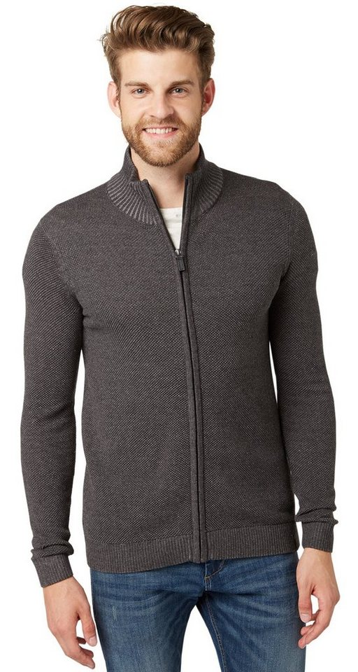 TOM TAILOR Pullover »modern plated zip jacket« in black grey melange