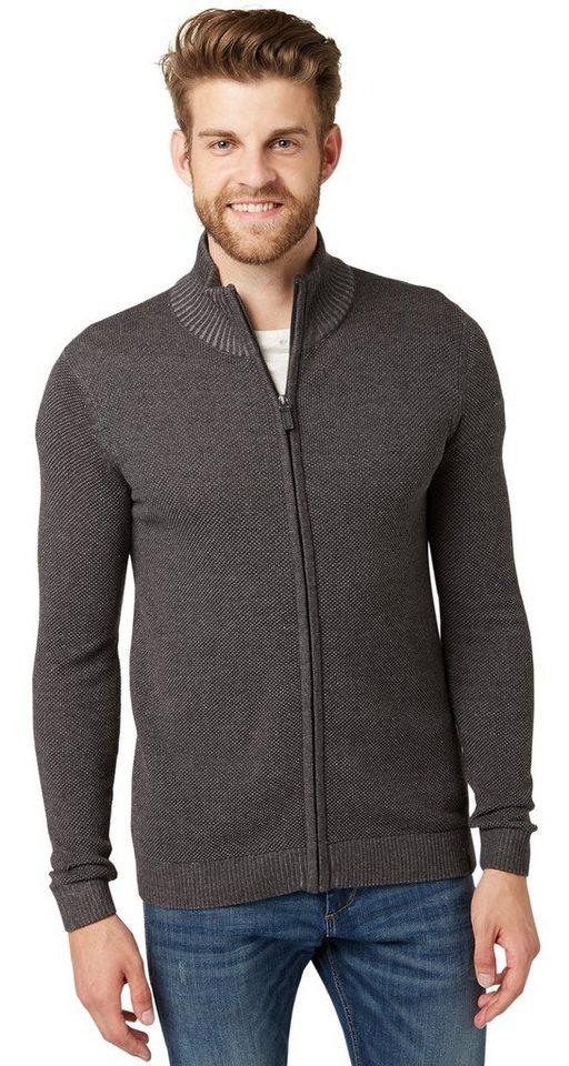 TOM TAILOR Pullover »Strickjacke mit Reißverschluss« in black grey melange