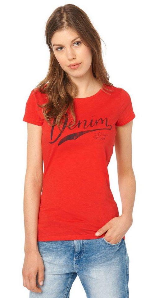 TOM TAILOR DENIM T-Shirt »lässiges T-Shirt mit Schriftzug« in brilliant red