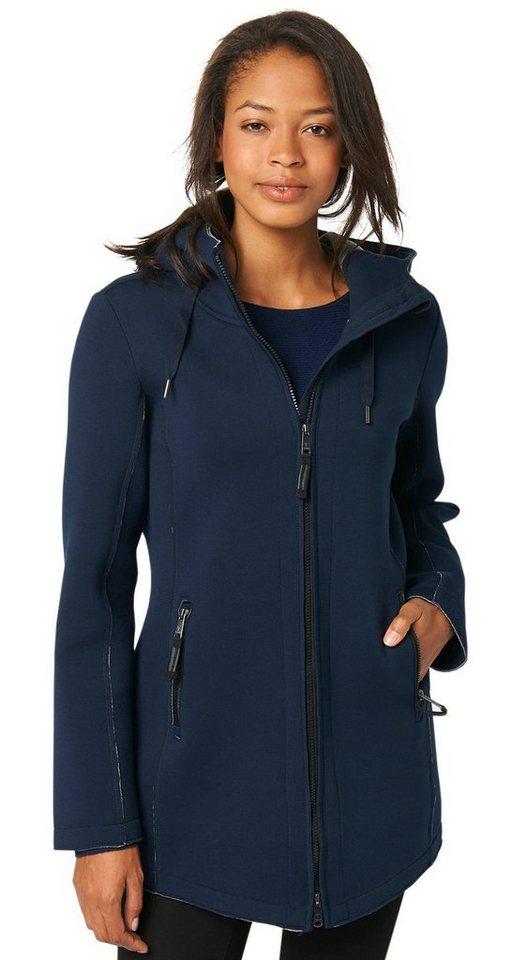 TOM TAILOR Sweatjacke »Jersey-Jacke mit offenen Kanten« in real navy blue