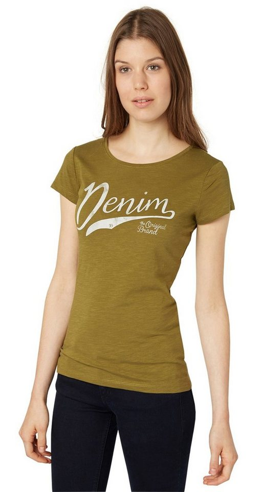 TOM TAILOR DENIM T-Shirt »lässiges T-Shirt mit Schriftzug« in light olive green