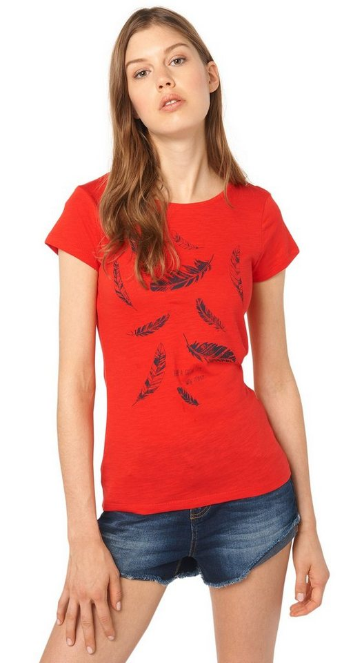 TOM TAILOR DENIM T-Shirt »T-Shirt mit Feder-Print« in brilliant red