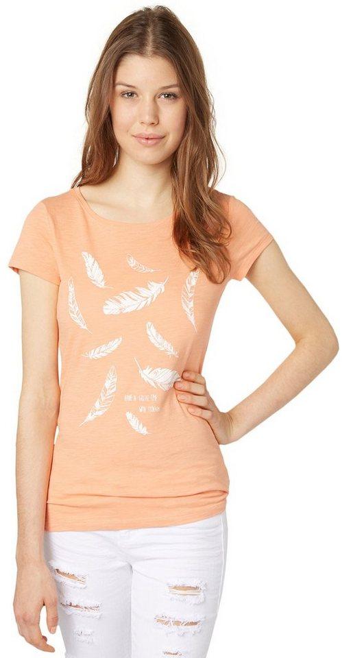 TOM TAILOR DENIM T-Shirt »T-Shirt mit Feder-Print« in sunset rose