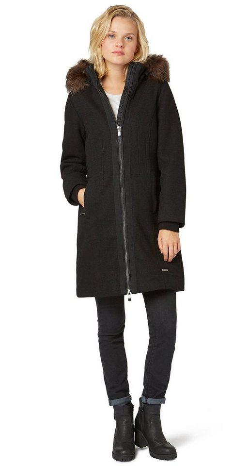 TOM TAILOR Jacke »warmer Mantel mit Zipper« in black