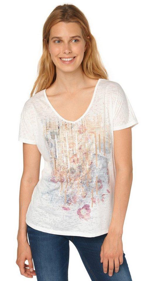 TOM TAILOR T-Shirt »bohemian burn-out print shirt« in whisper white