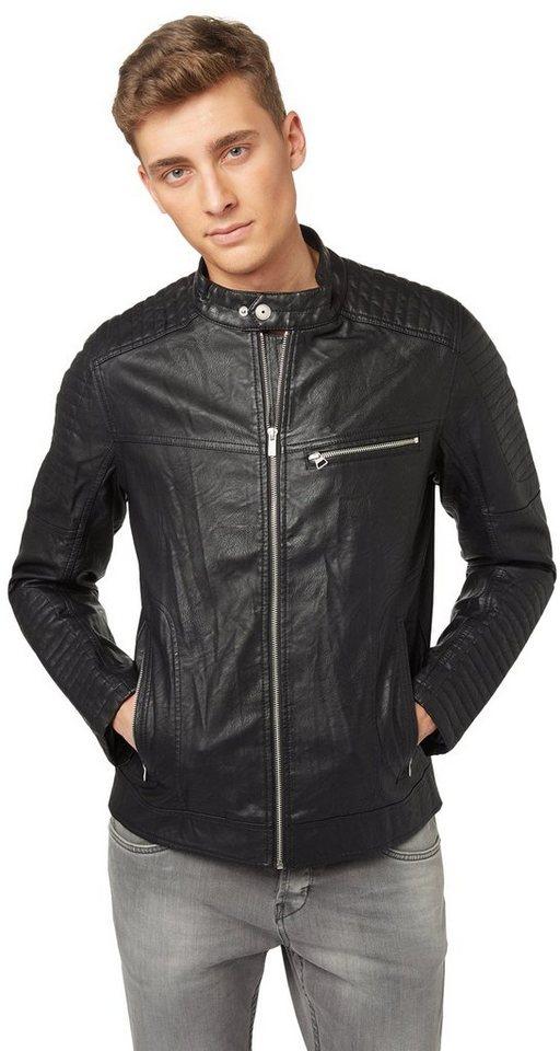 TOM TAILOR DENIM Lederjacke »Biker-Jacke aus Lederimitat« in black