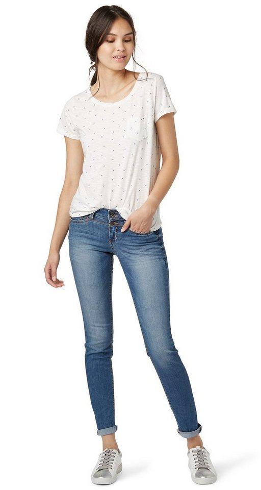 TOM TAILOR DENIM Jeans »Jona Jeans mit Bleachings« in mid stone wash denim