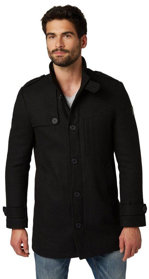 TOM TAILOR Jacke »gemusterter Kurzmantel« in black