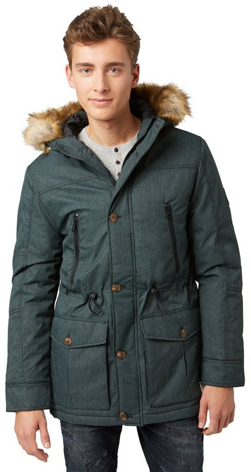 TOM TAILOR DENIM Jacke »funktioneller Parka mit Ärmel-Badge« in light spruce green