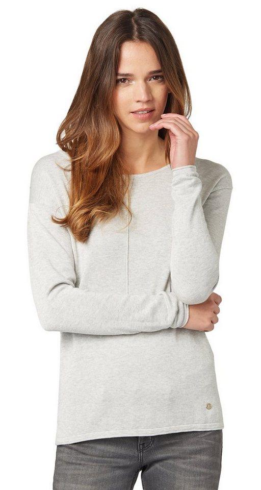 TOM TAILOR Pullover »Sweater mit dekorativer Naht« in bleached grey melang