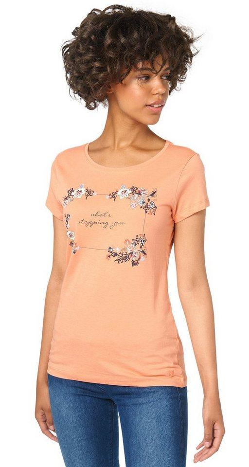 TOM TAILOR DENIM T-Shirt »T-Shirt mit Schrift-Print« in sunset rose